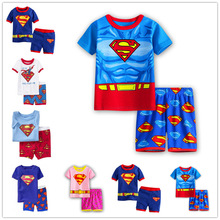 Baby Pajamas Kids Superman Set Children's Sleepwear Boys Girls Clothes 2019 Summer Short Sleeved Set Top With Pants For Girl