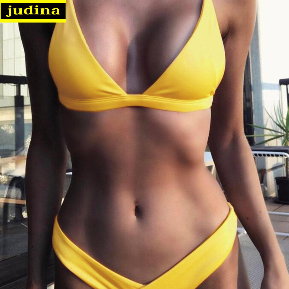 New women bikini set summer 2017 solid swimsuit Reversible Bathing Suit Halter Bikinis Women Bandeau Swimwear sexy monokini new 014 sexy girl summer game of thrones letters 3d prints halter ropes briefs bikini set swimsuit swimwear women bathing suit
