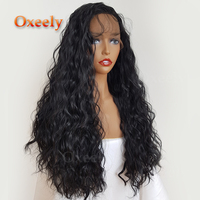 Oxeely Black Loose Water Wave Curly Synthetic Lace Front Wig Heat Resistant Fiber With Baby Hair
