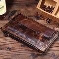 Vintage Retro Ocasional del Cuero Genuino Aceite de Cera de cuero de Vaca Hombres Carteras Monedero Con Cremallera Larga Bifold Wallet Pocket Hombre Walelt