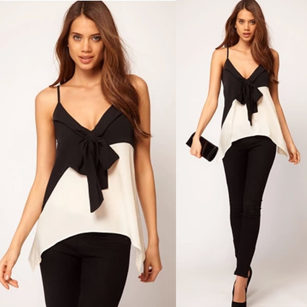 Chiffon Backless Crop Top Women Deep V Bow Cropped Tank Top Camis blusa Blouse Casual Sexy ropa mujer veste femme Boho Gypsy Tee