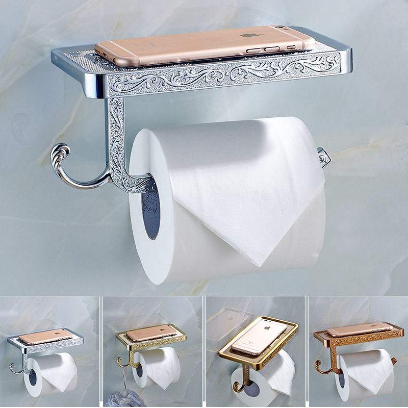 AUSWIND Antique Copper Phone Toilet Paper Holder Carved With Shelf Bathroom Mobile Phones Towel Rack Accessories Wall Mount Tn10 fully copper bathroom towel ring holder silver