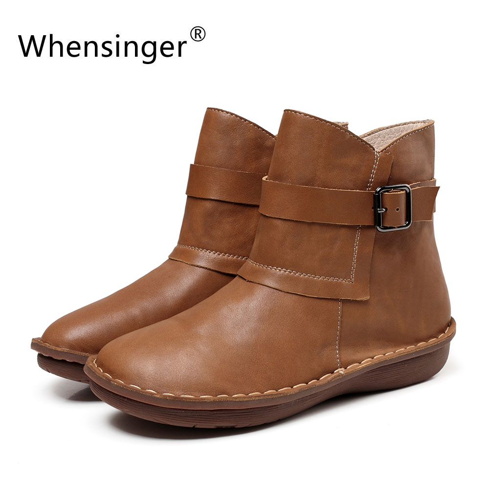 Whensinger - 2017 New Women Shoes Gneuine Leather Flats Rubber Sole Handmade Sewing 0507 whensinger 2017 new women fashion boots genuine leather fashion shoes rubber sole hands sewing 2 color 7126