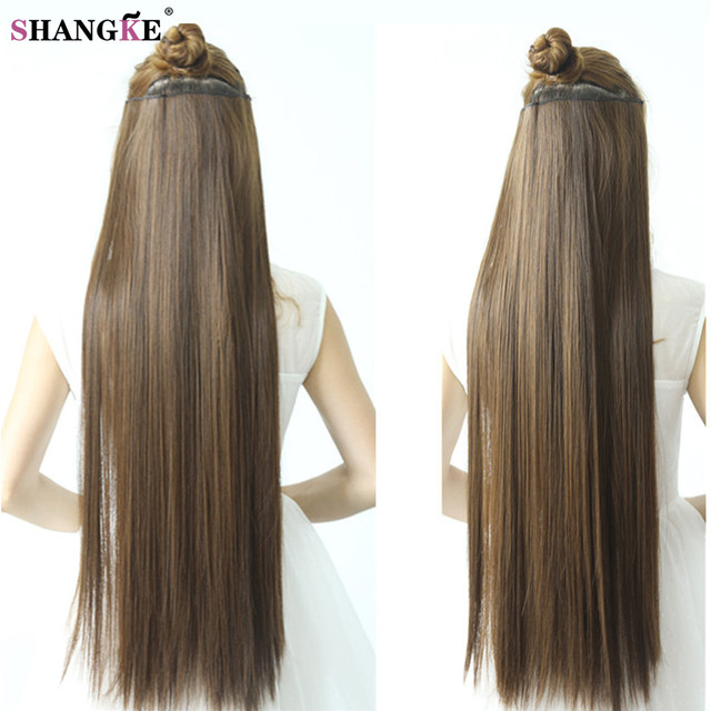 Online Shop 80cm 100cm Long Straight Women Clip In Hair Extensions
