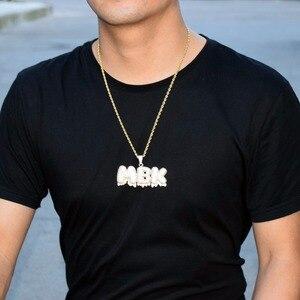 Image 3 - Nome personalizado gotejamento bolha letras encantos colares & pingente masculino zircon hip hop jóias