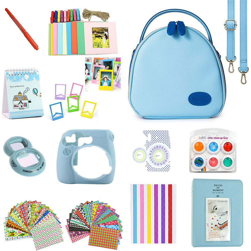 Accessories Kit for Fujifilm Instax Mini 8/8+/8s/9 w/Camera Case/Strap/Selfie Mirror/Filter/Album/Corner Sticker/Sticker/Pen etc