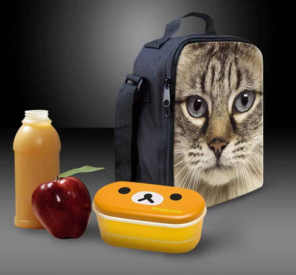 Портативная сумка для ланча в виде головы тигра для мужчин, детей, животных, совы, Ланч-бокс для школы, печать, путешествия, Pinic термо, сумка для обедов