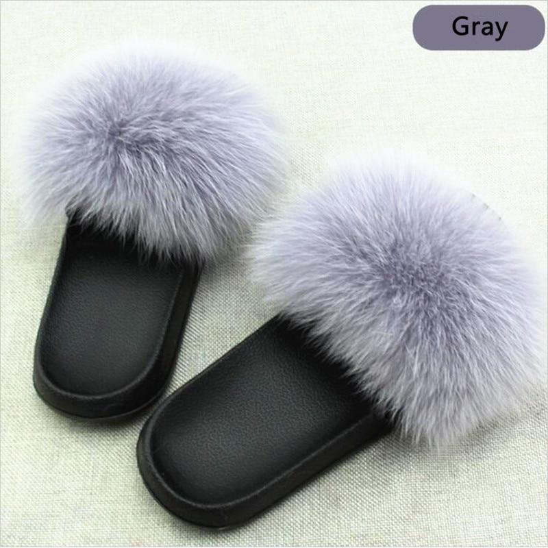AoXunLong Hot Fox Fur Slides Kvinna Fox Fur Slipper Fox Fur Slippers - Damskor - Foto 5