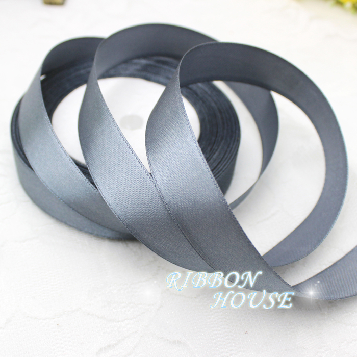 GREY SINGLE FACE SATIN RIBBON