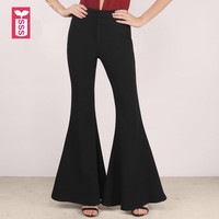 SSS Novelty Big Flare Pants Ladys High Waist Slim Fit Formal OL Womens Fashion Black Sweatpants Trousers Summer 2018