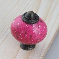 Creative Elipso Vintage Furniture Knobs Red Ceramic Drawer Cabinet Knob Bronze Dresser Door Pulls Antique Brass