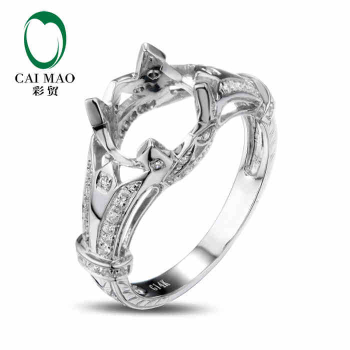 CaiMao Oval cut Semi Mount Ring Settings & 0.28ct Diamond 14k White Gold Gemstone Engagement Ring Fine JewelryCaiMao Oval cut Semi Mount Ring Settings & 0.28ct Diamond 14k White Gold Gemstone Engagement Ring Fine Jewelry