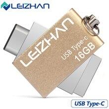 LEIZHAN USB Flash Drive 3.0 Type C 3.1 OTG Dual Port Stick 32G Pendrive Metal 16G Pen Drive Storage Memory Disk External Device