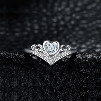 JewelryPalace Heart Princess Crown Channel Set  Cubic Zirconia Promise Wedding Engagement Ring 925 Sterling Silver 1