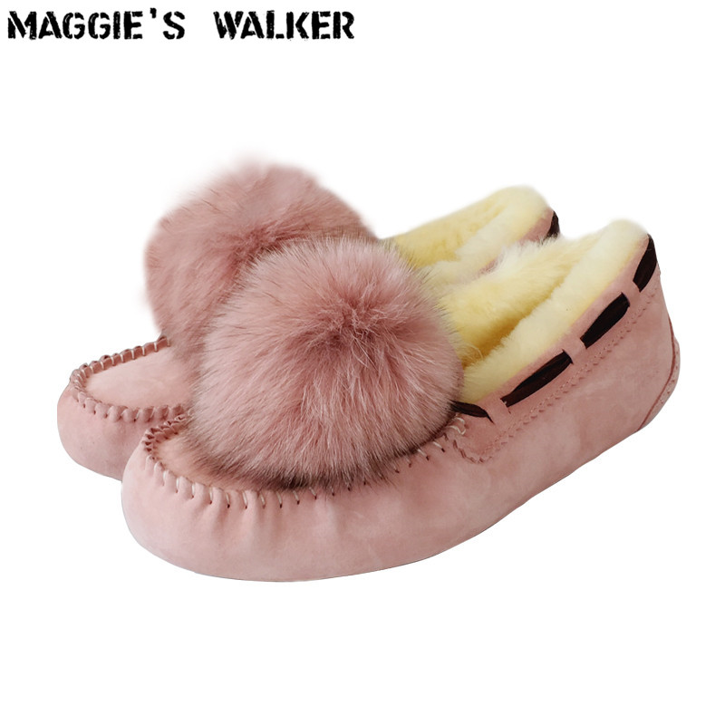 Maggie's Walker Fashion Genuine Leather Sheep Hair Winter Snow Boots Warm Casual Wool Shoes With Pendent Size 35-40