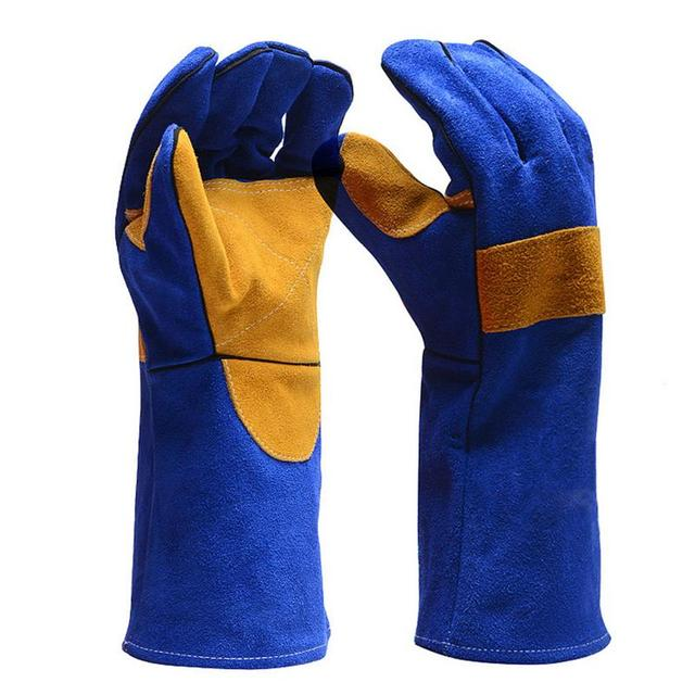 Leather Welding Gloves Heat Fire Resistant For Welder Oven