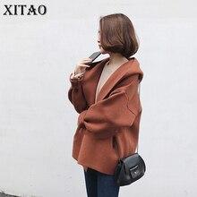 [XITAO] Outono Novas Mulheres Casuais Solta Cor Sólida Casacos de Lã Camisola Com Capuz Collar Completa Batwing Luva Knitting Sweater KY844