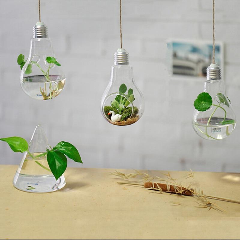 Light bulb glass vase hydroponics vase fashion home decoration fleshier plant flower Ямча