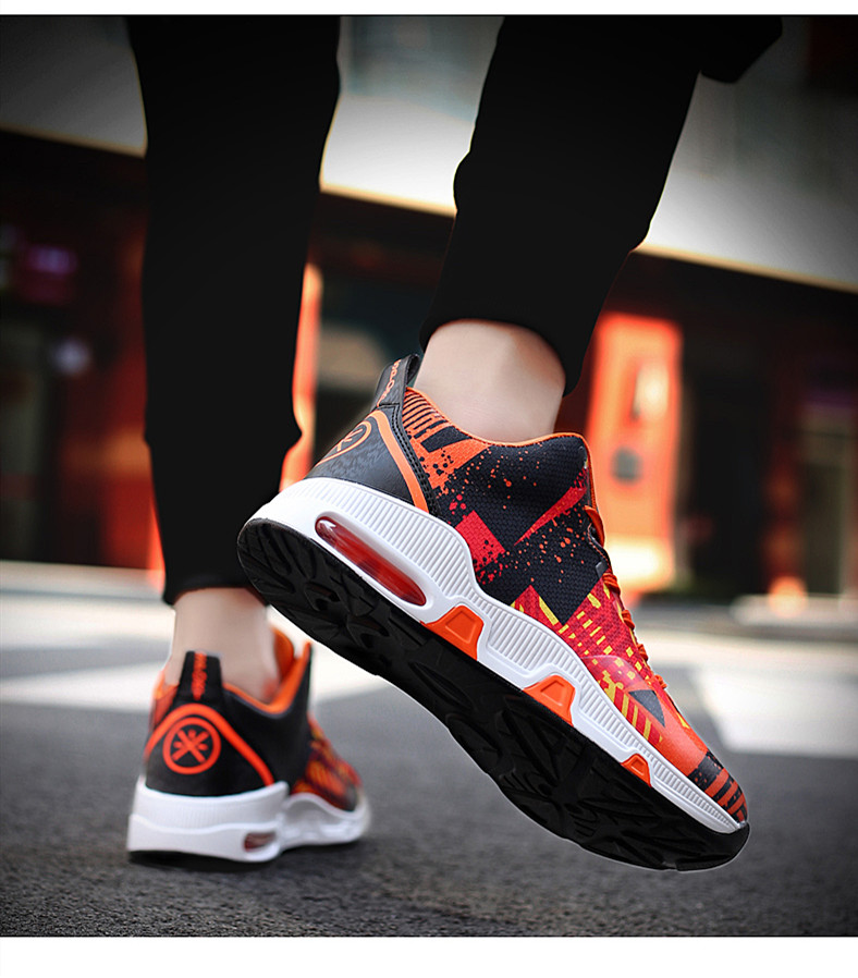Plus Size 35-46 Sport Fashion Sneakers Women Breathable Geometric Basket Female Men's Casual Shoes Air Cushion Sneakers NX013 (10)