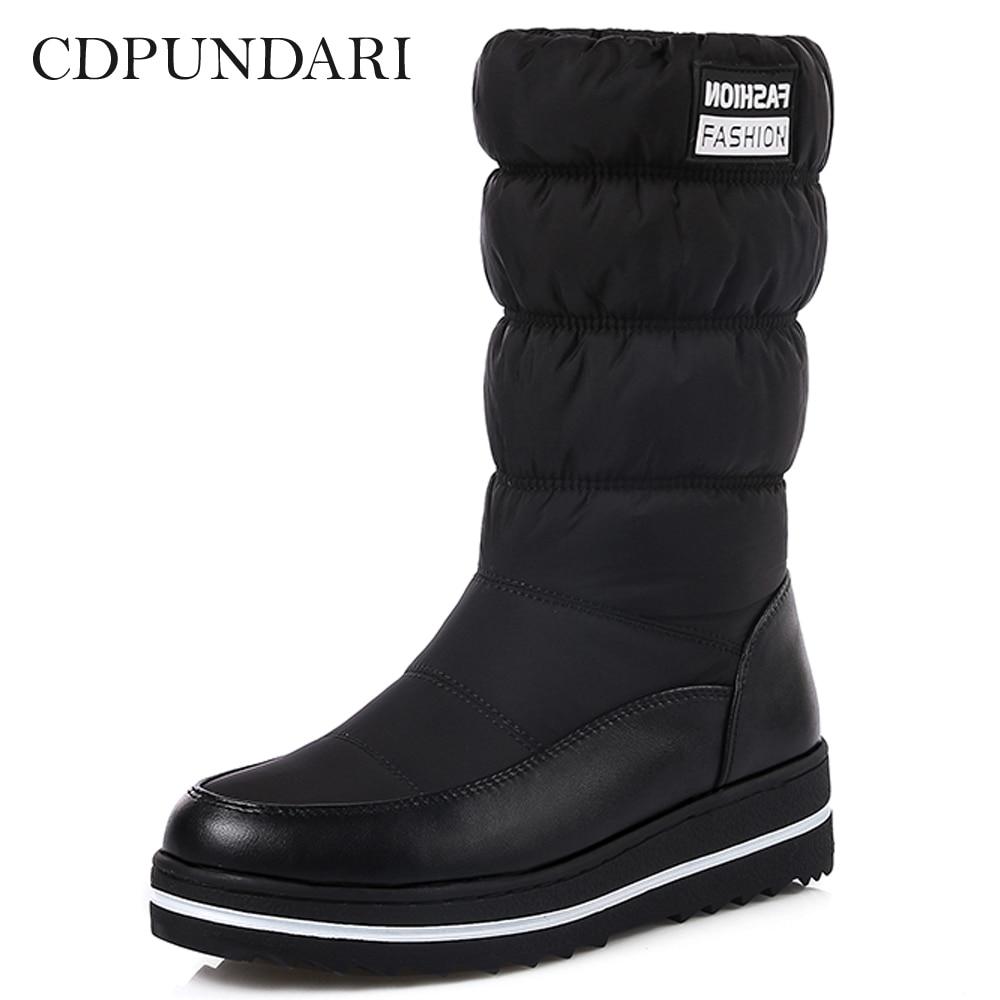 CDPUNDARI Down Plush Snow Boots Women Ankle Boots Ladies flat winter platform boots Black Red Blue platform bowkont flocking snow boots