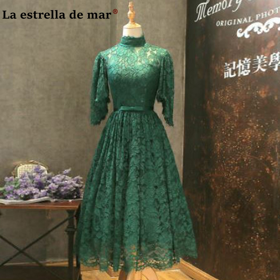 Robe femme mariage de soiree new high neck lace sleeve dark green red white Tea   bridesmaid     dresses   cheap brautjungfernkleid