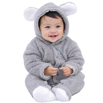 MUQGEW Infant Baby  rompers Girls&Boys Long Sleeve Fluffy Hooded Jumpsuit Romper Outfits Clothes children's clothing Baby Rompers
