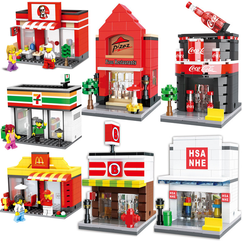 12 Styles City Street Shops Building Toys Sports Stores Food Stores Coffee Shop Compatible legoingly Figures Block Bricks ...