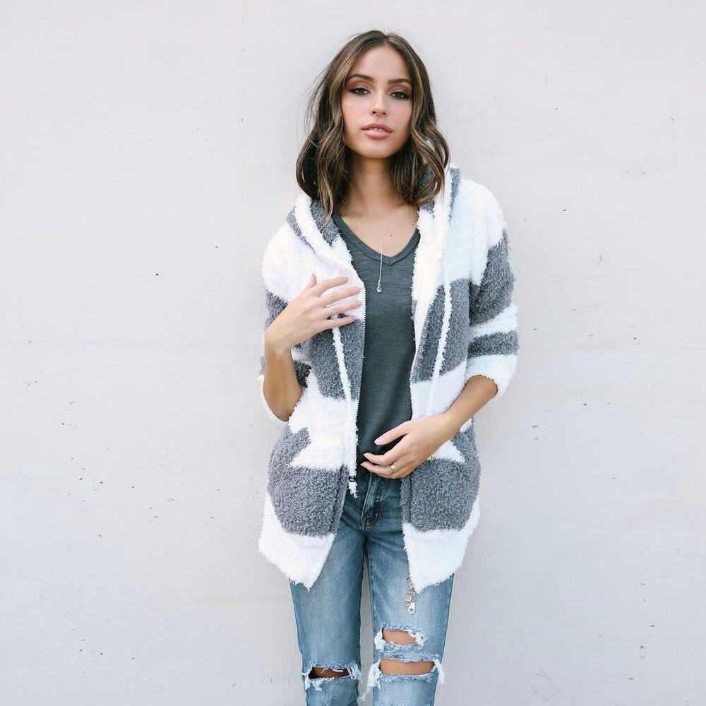 New Autumn Winter Sweatshirt Women Fashion Faux Fur Hooded Spliced Color Coat Ladies Casual Zipper Hoodies Parka Outwear Coats
