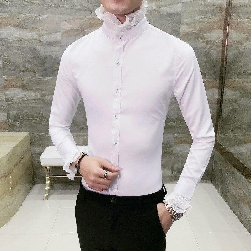Lace Collar Tuxedo Shirt Unique Designer Vintage WeddingShirt Long Sleeve Slim Fit  Gothic Shirt Men Chemise Homme Camicia Uomo
