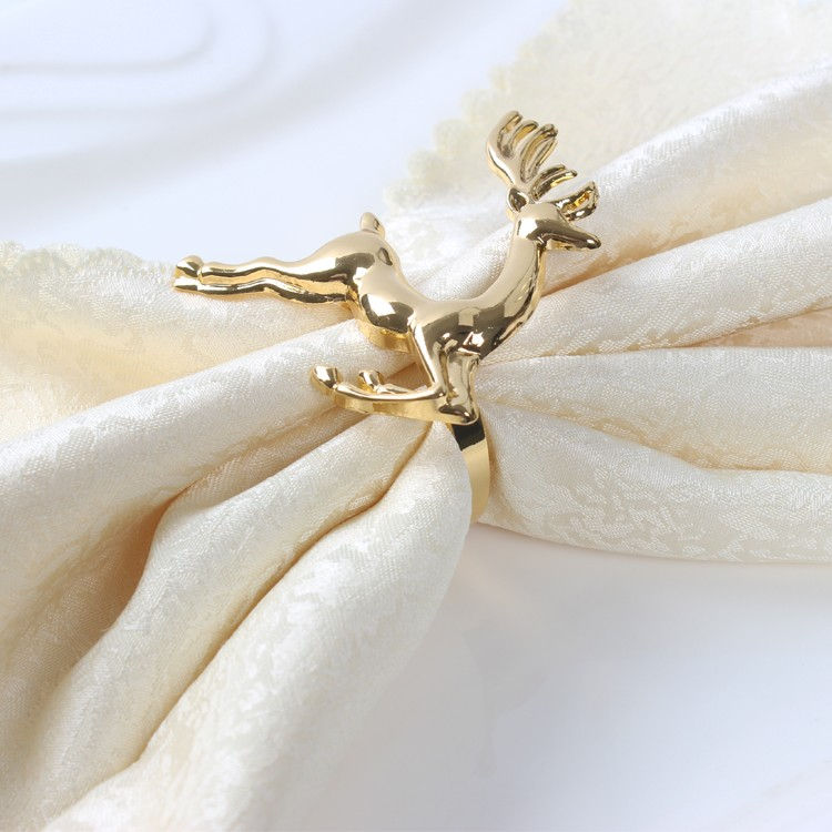 20ks / lot Módní vynikající módní jelenová ubrousek kroužek na ubrousky přezka hotelová restaurace, vánoční ubrousky prsteny Golden