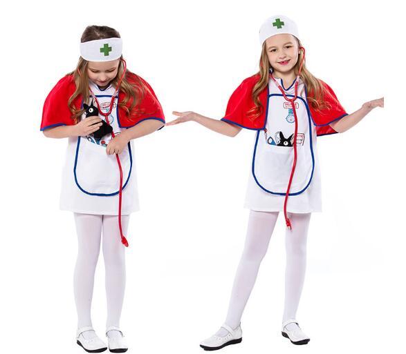393fc67de75 US $18.04 5% OFF| Girls Dress Kids Nurse Costume Headpiece Apron Outfit  Hospital Doctor Occupation Halloween Cosplay Dress up Costume-in Girls ...