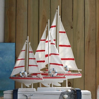 31 5cm American Style Sailing Ship Model Mediterranean Style Creative Furnishing Articles Wooden Boat Decoration Crafts
