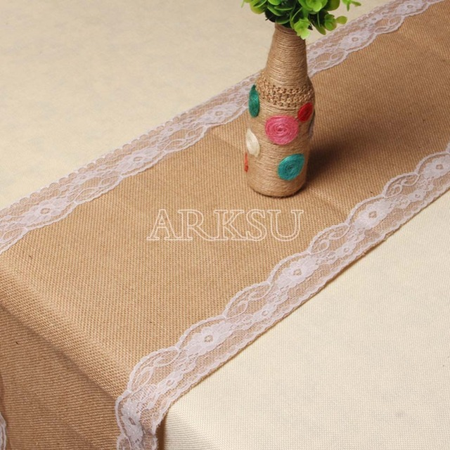 10pcs 12x108 Inch Elegant White Burlap Table Runner Natural Table Runner  Modern Lace For Wedding Party