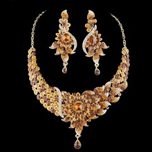 India Jewelry Bridal Jewelry sets women wedding Party necklace earrings set rhinestone peacok style Dress jewelry accessories