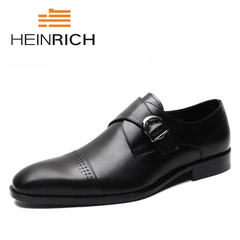 HEINRICH New Formal British Style Men Shoes Pointed Toe Genuine Leather Wedding Dress Shoes High Quality Buckle Mens Shoes mycolen high quality genuine leather men formal shoes business casual pointed toe buckle strap dress wedding men dress shoes