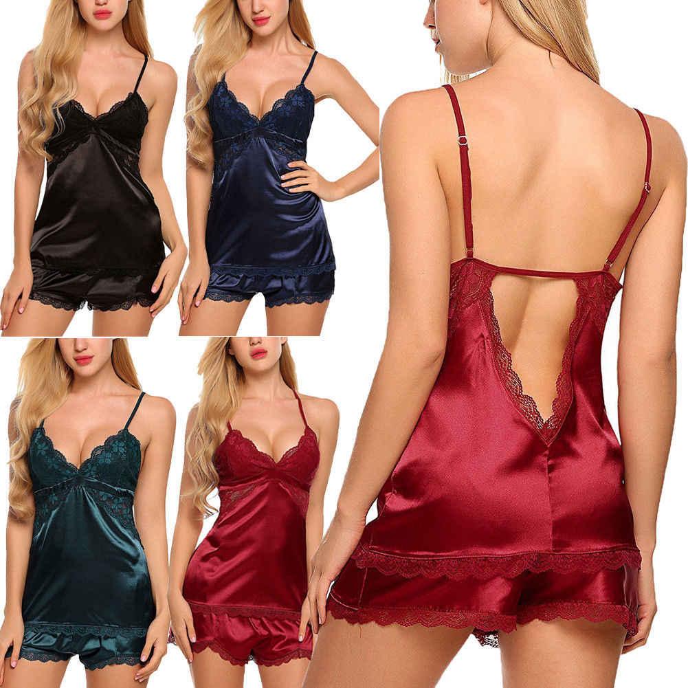 1dbeea41e9 2pcs Sexy Women Satin Lace Flower Sleepwear Babydoll Lingerie Nightdress  Pajamas Set Shorts+Shirt Soft