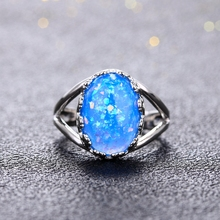 925 Sterling Silver Oval Blue Opal Ring