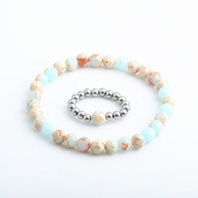 Again Jewel Bead Bracelets sets for Women Stone Stainless Steel Elastic Bracelet Sets 2PCS set Gifts Lover