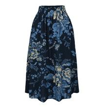 Plus Size Long Skirt Floral Print Elastic Waist