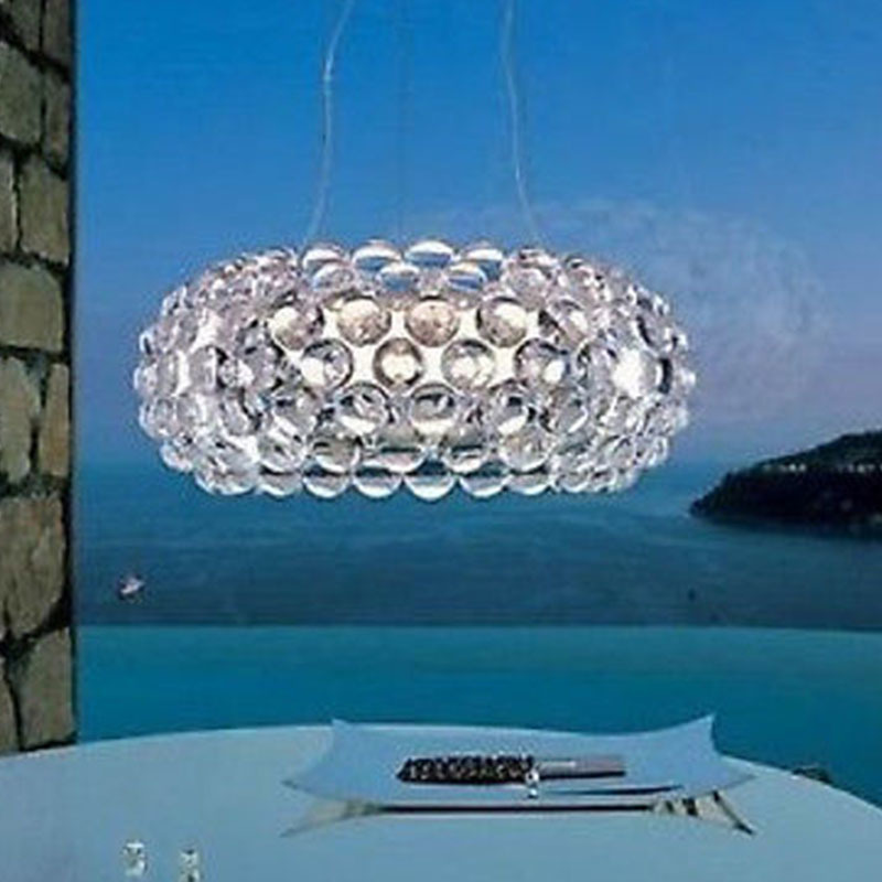 Modern caboche Acrylic Crystal Ball Lustres Pendant Lamp Light Lighting Restaurant Fixture Living Room Bedroom Hotel RS7 bulb