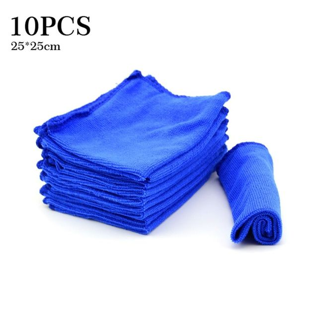 10 Pcs Blue Microfiber Washcloth Auto Car Care Cleaning Towels Soft Cloths Tool