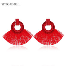 WNGMNGL 2018 New Fashion Female Tassel Earrings Bohemia Charm Statement Earring for Women Vintage Round Drop Earrings Jewelry 2018 summer new india golden jhumki earrings bohemia blue tassel earrings hippy charm fake beach travel jewelry