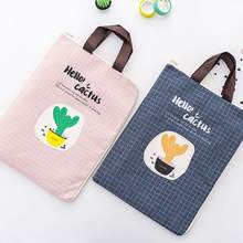 Portable Storage Bag Fashion Cactus Canvas Fabric Document File Filing Products Zipper School Office Stationery Supplies
