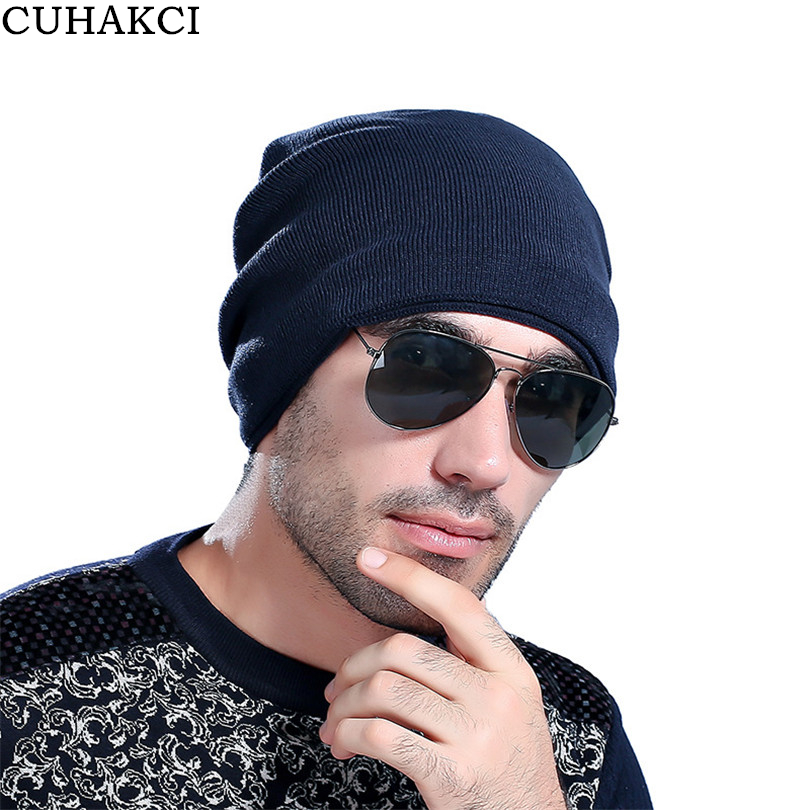 CUHAKCI Men Warm Thick Beanie Winter Hats Unisex Women Plus Velvet Hat Beanies Knitted Hiphop Man Wool Caps Winter Male Skullies 2017 winter women beanie skullies men hiphop hats knitted hat baggy crochet cap bonnets femme en laine homme gorros de lana