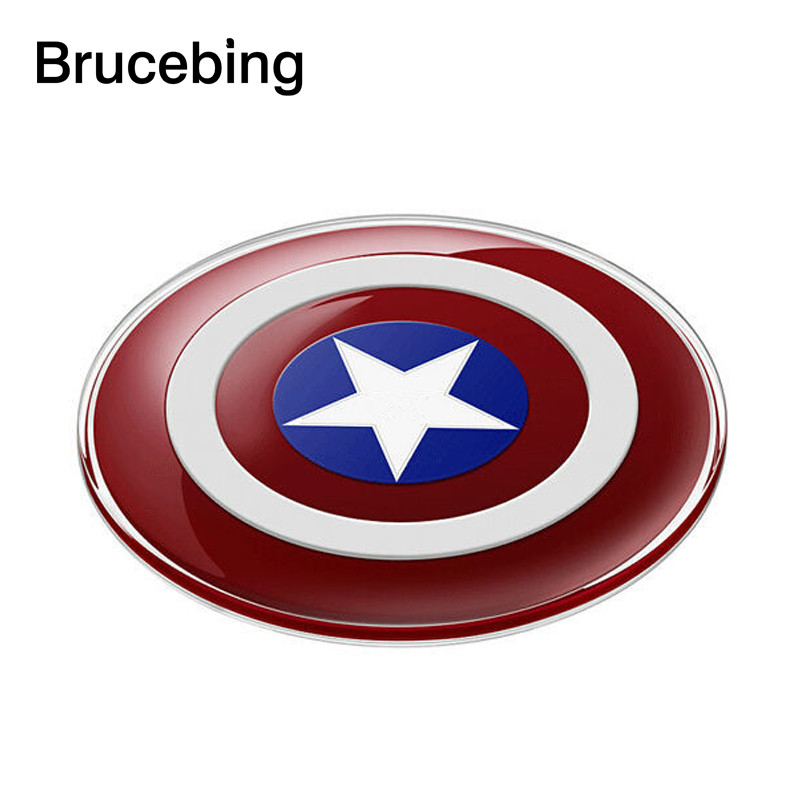 QI Charging-Pad Captain-America-Shield Avengers Wireless-Charger Galaxy Samsung for S8