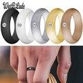 Новинка 5,7 мм силиконовые кольца Стразы пищевой класс FDA Силиконовое кольцо гипоаллергенные гибкие для женщин Свадебные резинки