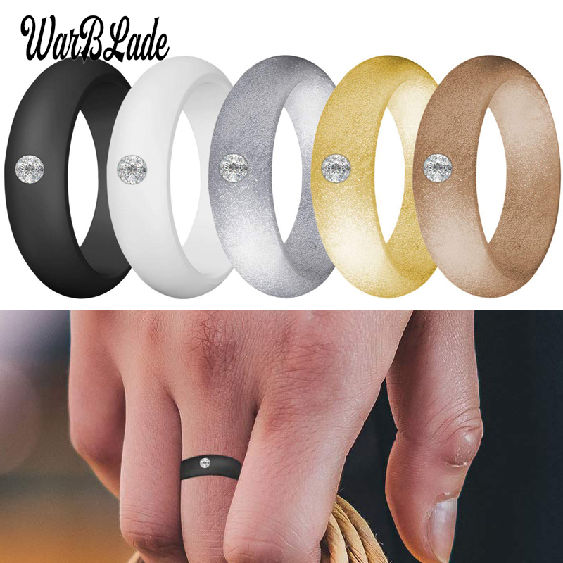 New 5.7mm Rhinestone Silicone Rings Food Grade FDA Silicone Finger Ring Hypoallergenic Flexible For Women Wedding Rubber Bands