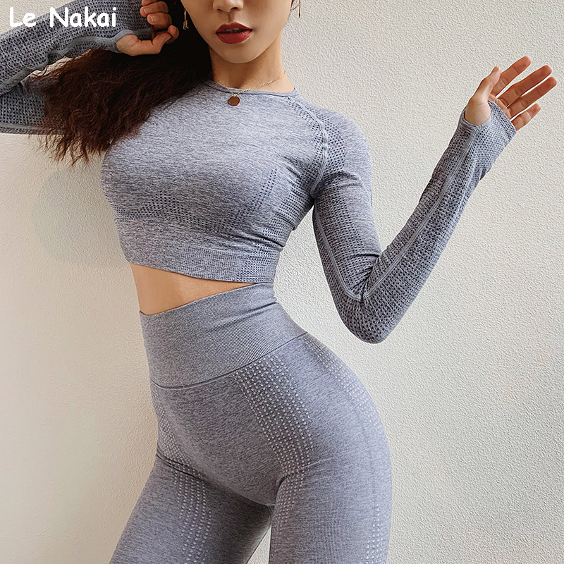 New Vital Seamless Crop Top Yoga Shirts for Women High Stretchy Fitness Shirt with Thumb Holes Gym Workout Top Fitness Shirts