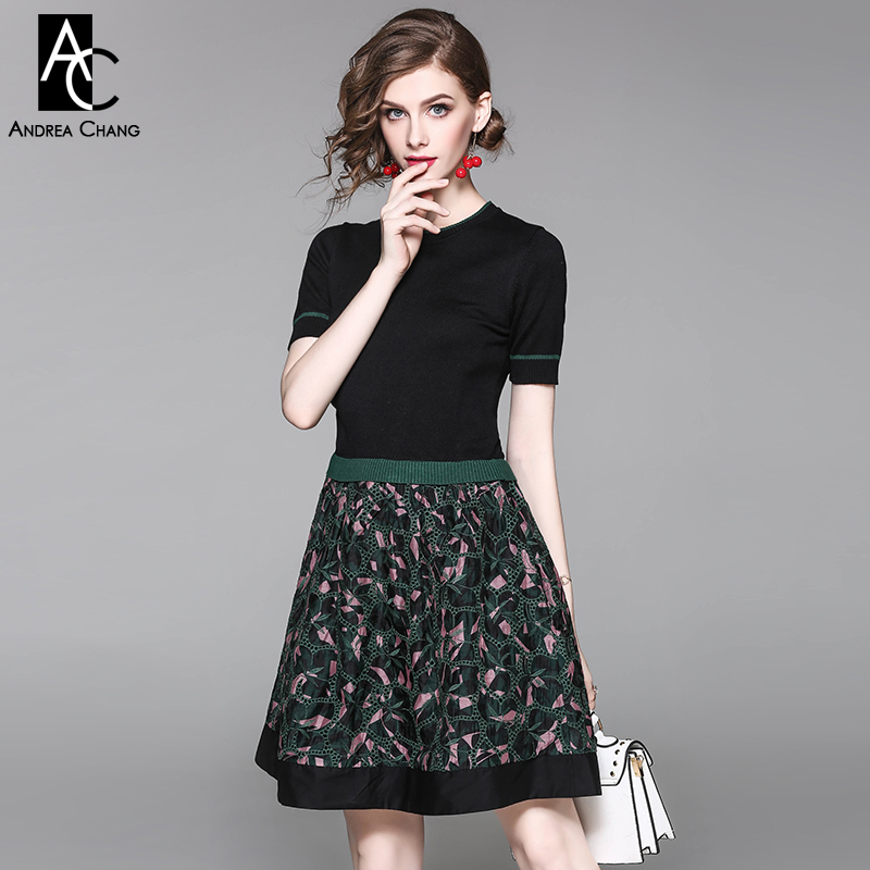 spring autumn woman dress green border knitted black top pink vintage pattern print embroidered bottom mini cute dress ball gown spring autumn woman dress faux pearl rhinestone beading sleeve cuff knitted dress fashion vintage elastic black red party dress