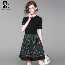 spring autumn woman dress green border knitted black top pink vintage pattern print embroidered bottom mini